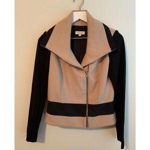 Barneys New York Black Tan Colorblock Wool Jacket